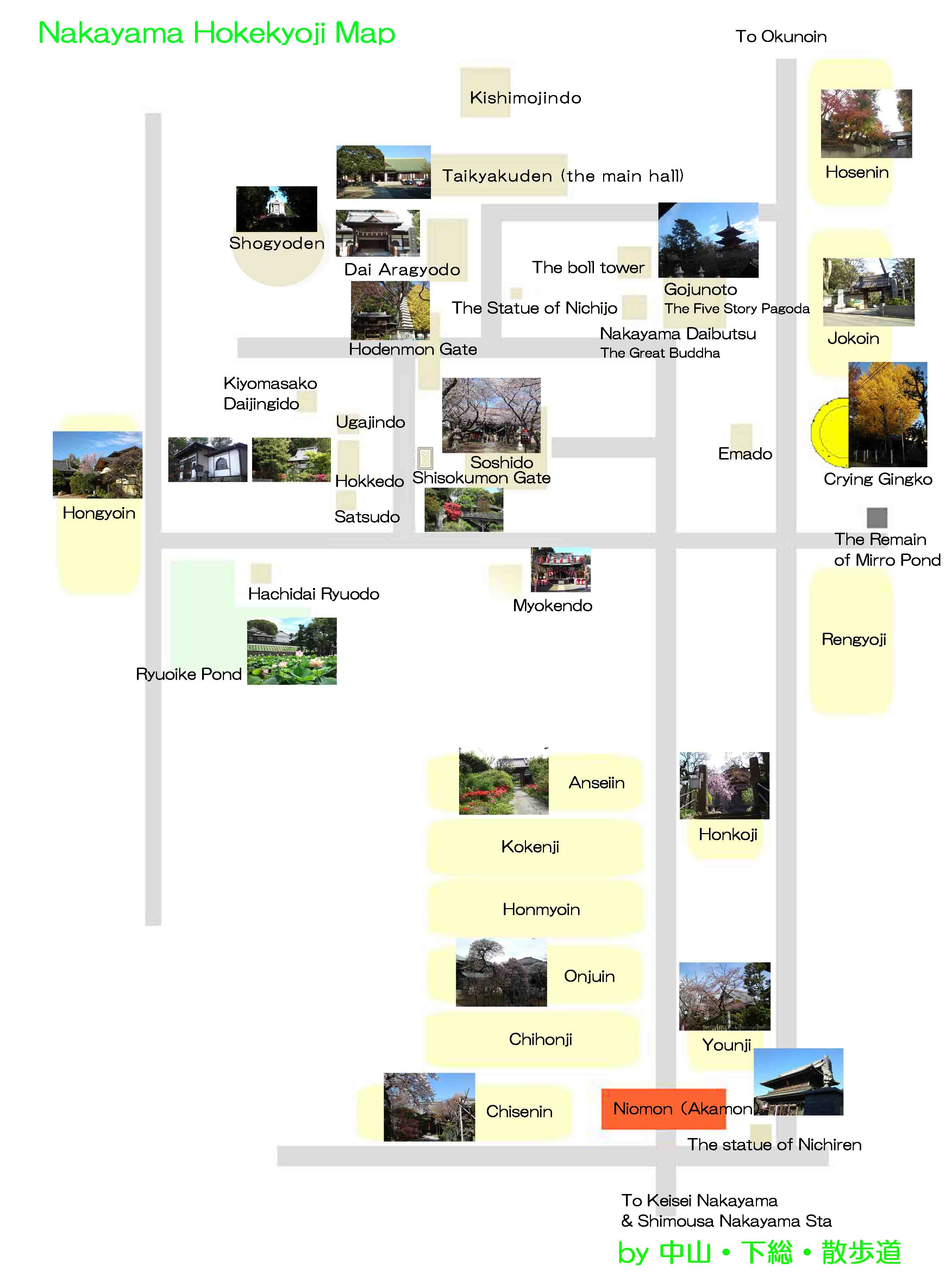 the map to Hongyoin Temple