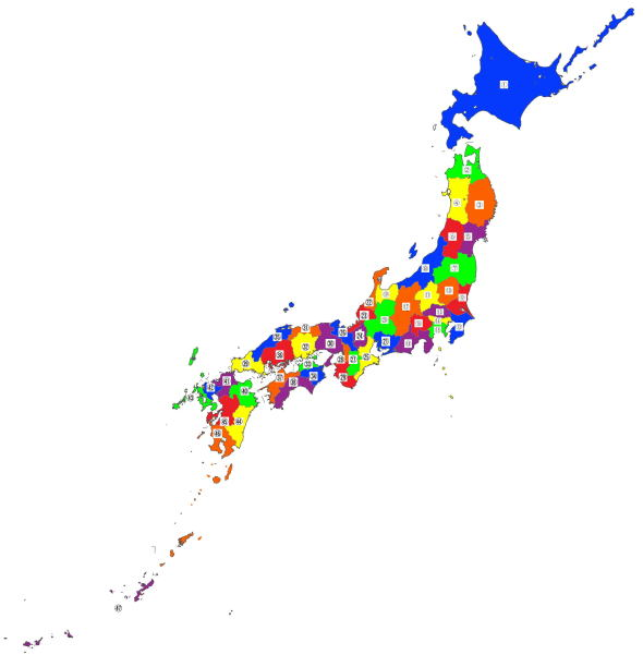 the map of the prefectural locations  in Japan