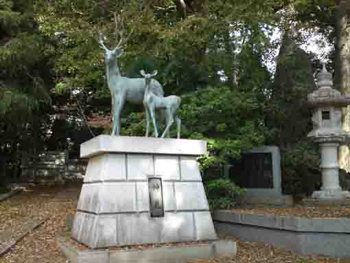 the statue of deers in Kashima Jinja Shrine