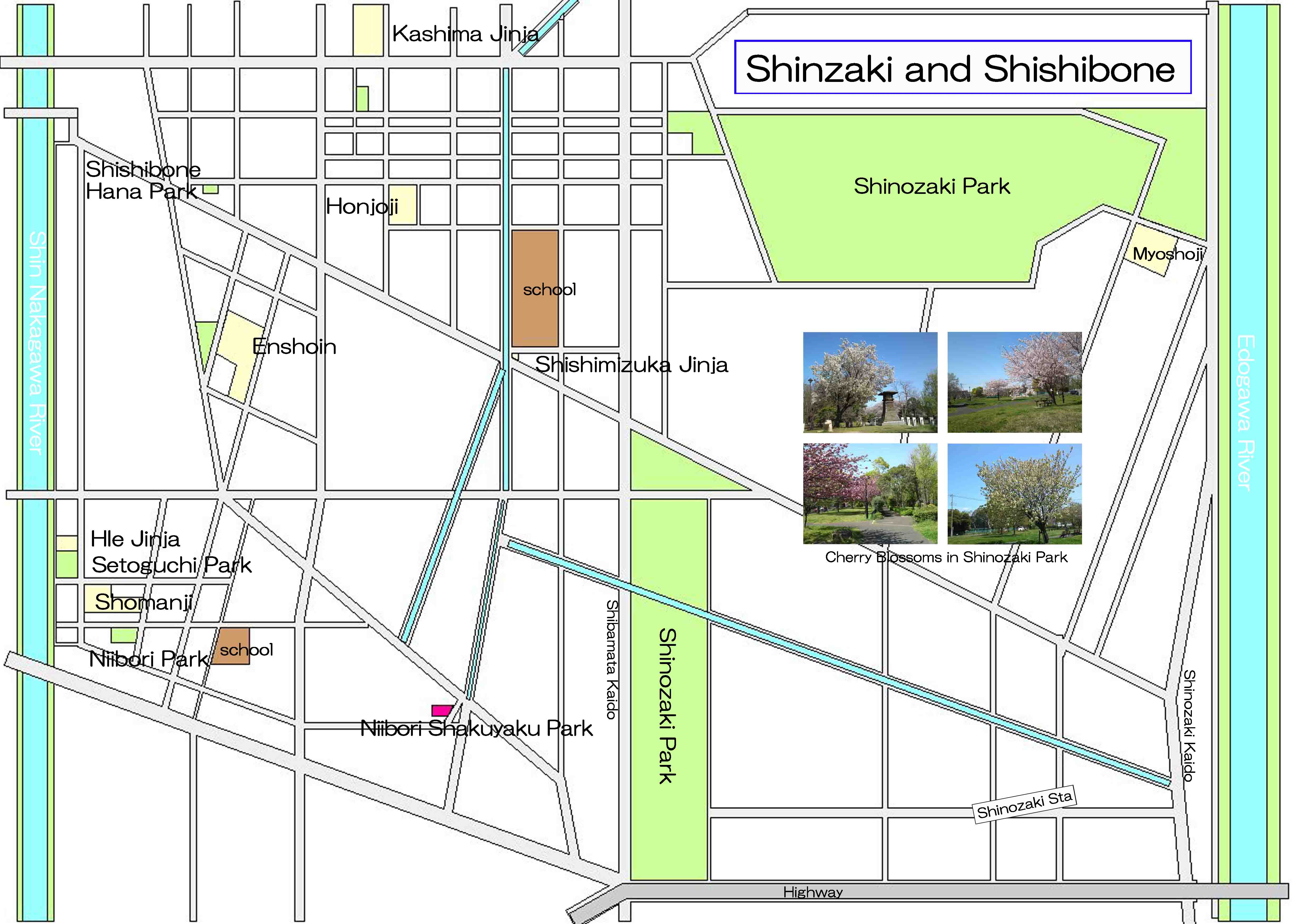 the map near Shinozaki Park
